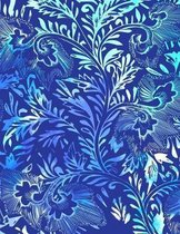 Watercolor Blue Flower Leaves Notebook College Ruled