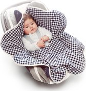 Babydeken Fleur, wikkeldeken en wrapper, pasgeboren tot 12 maanden, zacht katoen, 85 * 85 cm, Vichy blauw