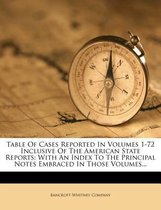 Table of Cases Reported in Volumes 1-72 Inclusive of the American State Reports