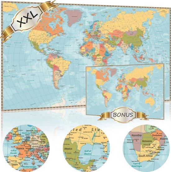 XXL Luxe Wereldkaart Poster (100 x 70 cm) + Bonus Wereldkaart (60 x 42 cm) - Wereldkaarten Extra Groot Formaat - Grote Wereld Kaart Posters - Wereldkaart wanddecoratie