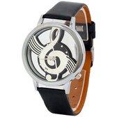 Hidzo Horloge Muzieknoot ø 37 mm - Zwart - Kunstleer