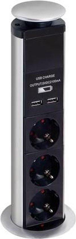 Pop-Up stekkerblok met 3 stopcontacten en 2 USB aansluitingen - randaarde - bureau stekker met lader - Merkloos