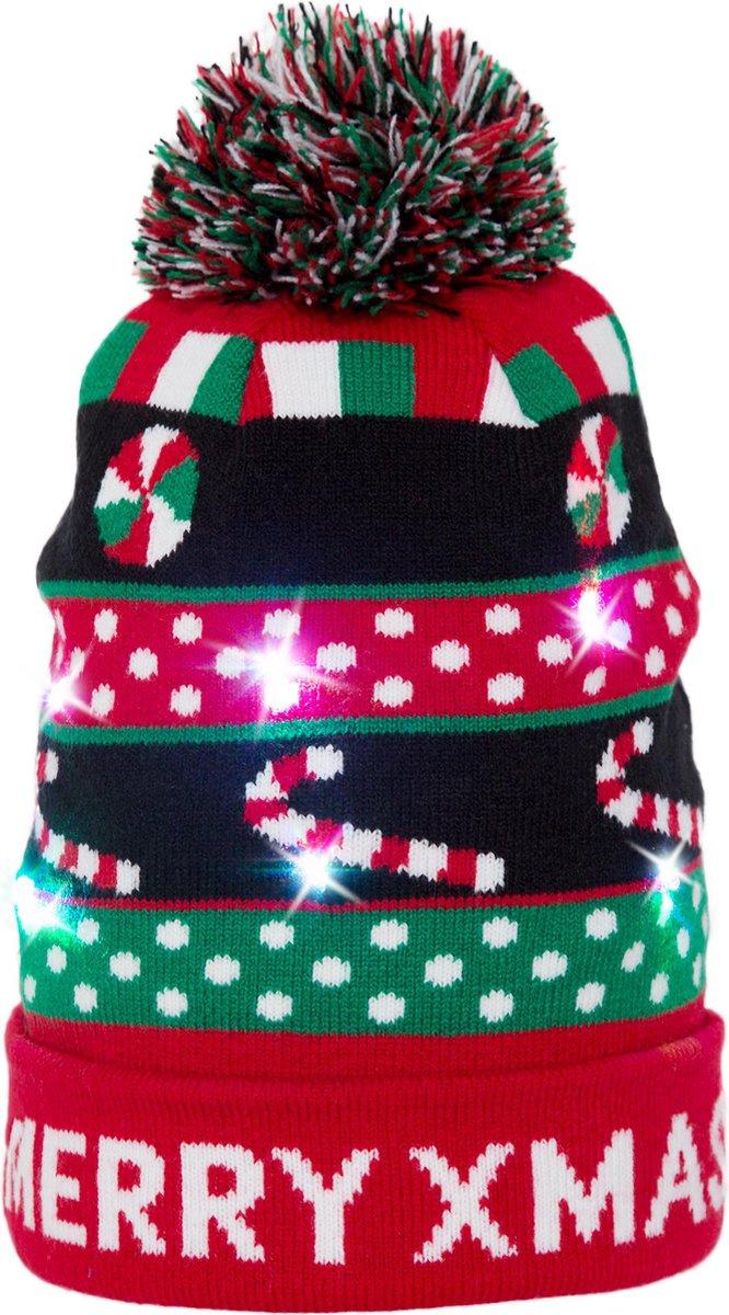 JAP Kerstmuts met lichtjes - Beanie met kerst verlichting - Merry x mas - JustAnotherProduct
