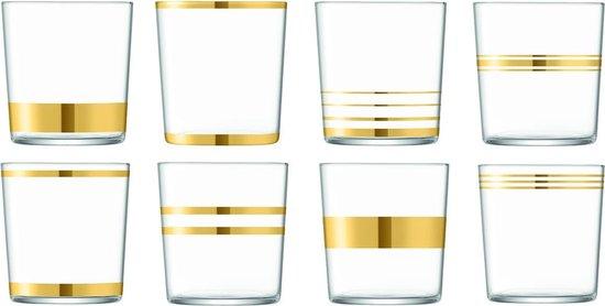 LSA Deco Waterglas - 390 ml - 8 Stuks - Goudkleurig