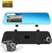 Full HD auto dashcam spiegel, autoblackbox DVR, voor en achter camera.