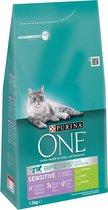 Purina ONE Sensitive - Kattenvoer Kalkoen & Rijst - 3 x 1,5 kg