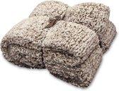 Unique Living Knut - Fleece polyester - Plaid - 150x200 cm - Mahogany Brown