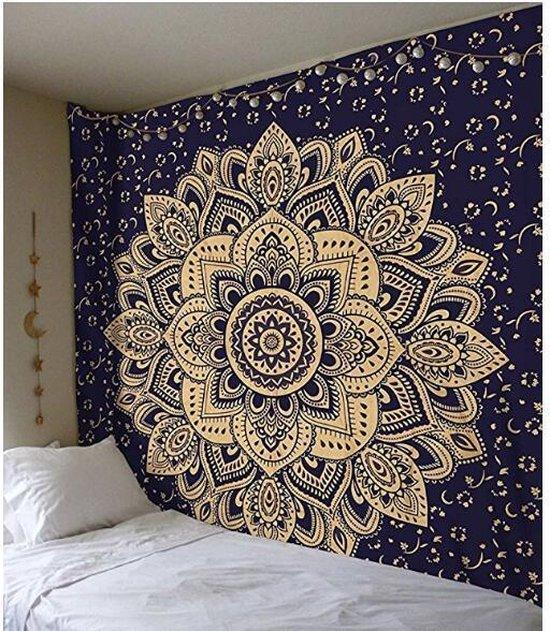 Mandala Kleed - Wandkleed - Wanddecoratie - Mandala Tafeldecoratie - Picknickkleed - Blauw met Beige - 150x130CM