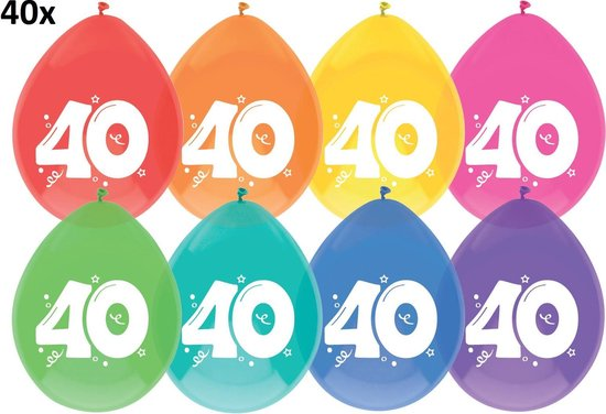 40 x Ballonnen - 40 jaar - multi/wit