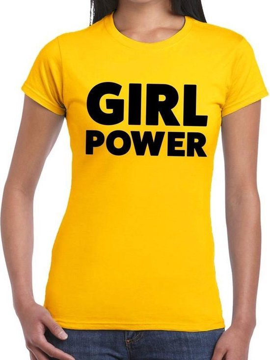 Girl Power tekst t-shirt geel dames - dames shirt Girl Power L