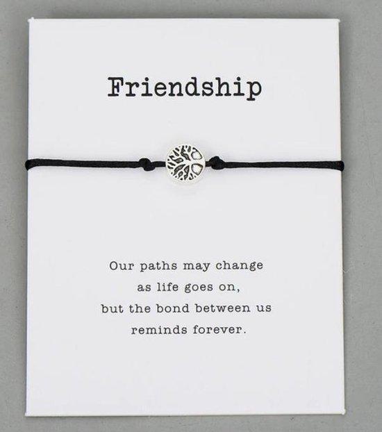vriendschapsarmband - 2 stuks - Vriendschaps armband met boodschap! Één voor jou, één voor je vriend(in)! - Meerdere kleuren - Gratis verzending - Vriendschap - Zwart