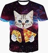 Pizza en taco kat festival shirt Maat S Crew neck