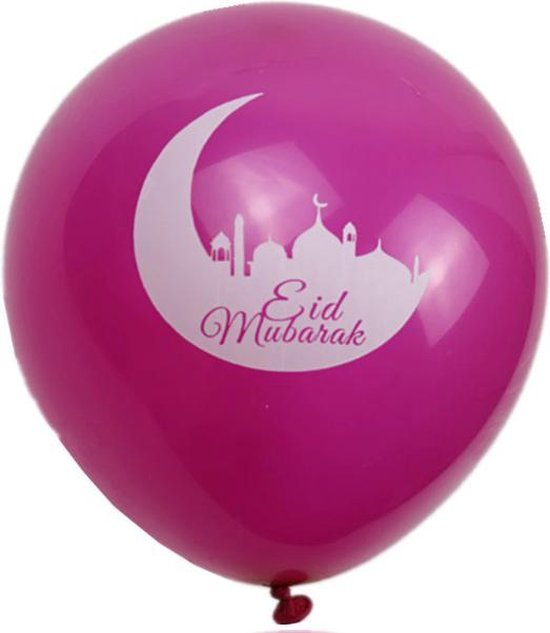 20 stuks Eid Mubarak ballon roze (met maan) – Ramadan – Suikerfeest decoratie