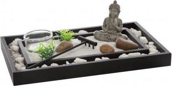Zen tuintje met Boeddha – Mini Zen tuin – Anti stress tuin – Zandbakje bureau - Inclusief stenen, zand en harkje