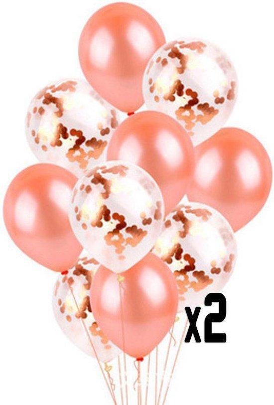 20 confetti ballonnen rosé goud en confetti rosé goud |Ideaal voor feesten, trouwerij, baby shower en verjaardagen