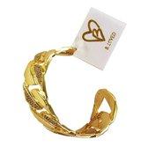 B.loved 25mm brede goudkleurige vriendschaps-armband met steentjes. - Goudkleurig