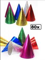 80x Luxe Feesthoedjes holografisch assortie