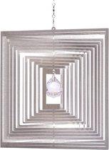 BlinQ Art Windspinner Vierkant RVS - 120mm - Kristalkogel 20mm