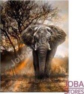 """Diamond Painting """"JobaStores®"""" Olifant in schemer - volledig - 45x60cm"""