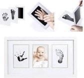 Baby handafdruk en voetafdruk fotokaartje - Baby cadeau - Gipsafdruk alternatief! - Eenvoudig schoonmaken - incl. 2 witte kaartjes en handleiding.
