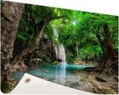Erawan Waterval in jungle Thailand foto Tuinposter 200x100 cm - Tuindoek / Buitencanvas / Schilderijen voor buiten (tuin decoratie) XXL / Groot formaat!
