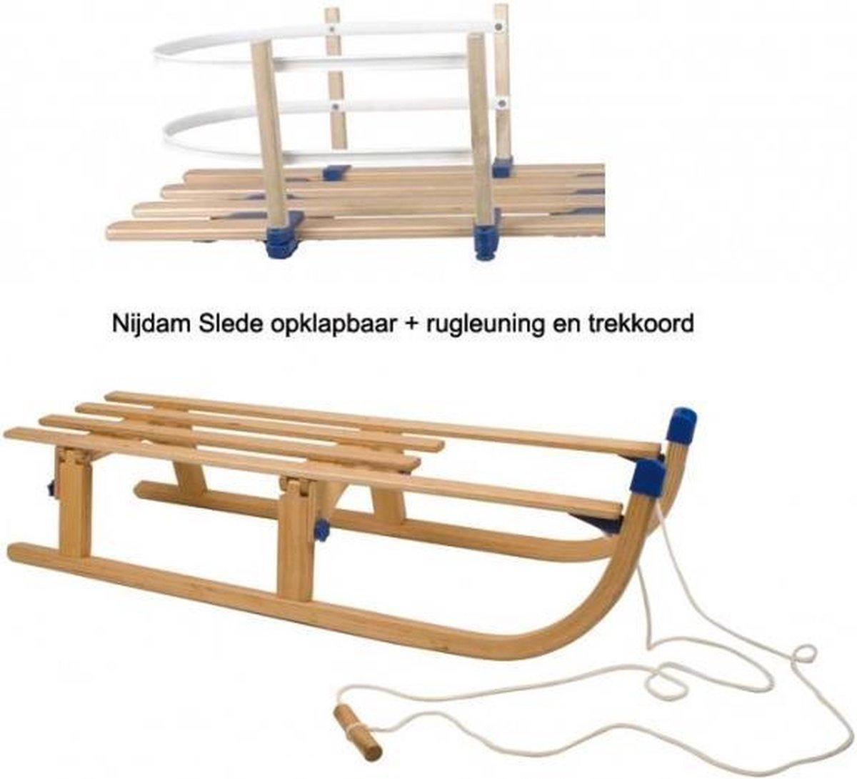 Slede hout opklapbaar - Opvouwbaar 110cm + rugleuning 0299 - Houten slee
