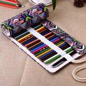 Premium Canvas Roletui Leeg - Voor 48 Potloden / Pennen Etui