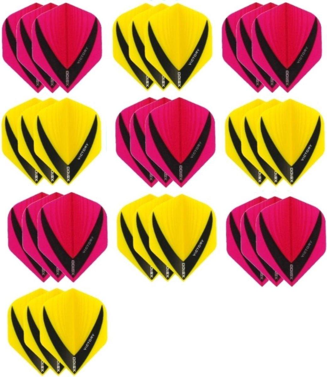 10 sets (30 stuks) - XS100 Vista flights - duo kleur pakket - Geel en Roze - flights - dartflights