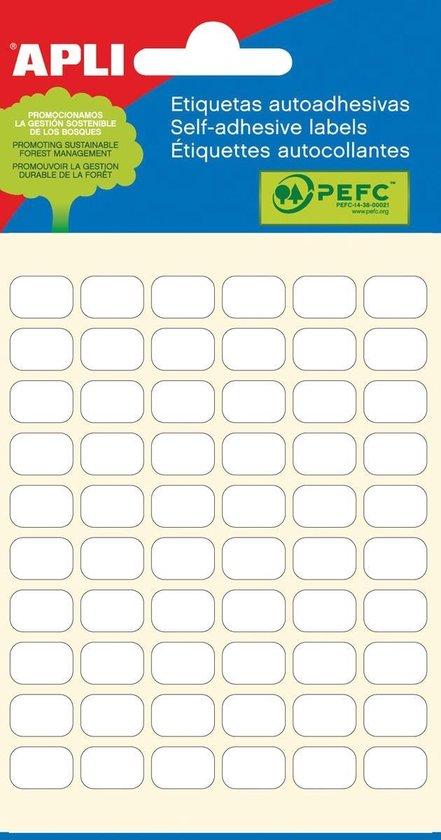 Afbeelding van Apli witte etiketten ft 8 x 12 mm (b x h), 360 stuks, 60 per blad (2667)