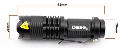 CREE Mini LED Zaklamp - 700 Lumen - Zwart
