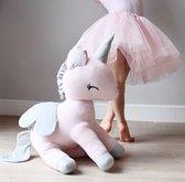 Pluche unicorn XL - roze met grijs - eenhoorn