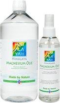 Magnesiumolie van Himalaya magnesium   Magnesiumolie spray 200 ml   Magnesiumolie 1000 ml navulfles   Magnesiumspray Magnesiumchloride Spierolie voordeelpakket