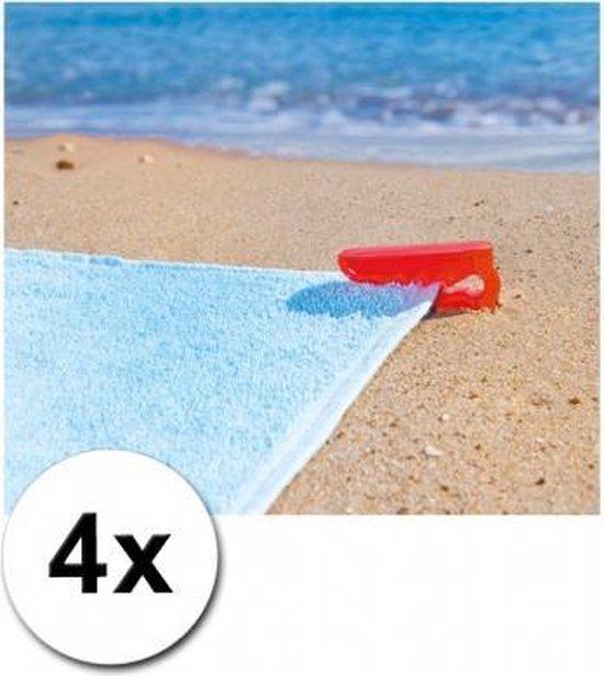 Strandlaken klemmen rood 4 stuks - Merkloos