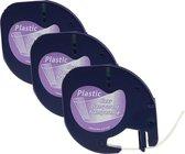 Afbeelding van Plastic labels voor Dymo LetraTag 12267 - Zwart op transparant - 12mm x 4m - 3 stuks