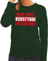 Foute kersttrui / sweater - groen - Mijn Foute Kersttrui Zit In De Was voor dames M (38)