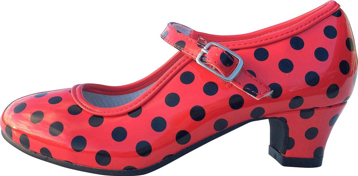Spaanse schoenen rood zwart glossy maat 24 (binnenmaat 16 cm) bij jurk