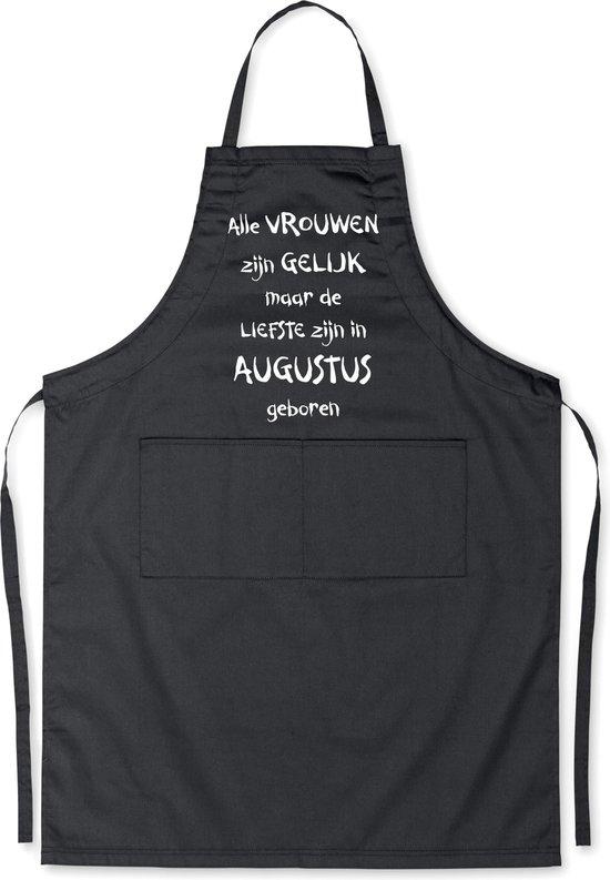Mijncadeautje - Luxe schort - zwart - Alle vrouwen zijn gelijk - augustus