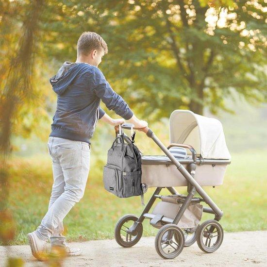 LifeGoods Luier- en Verzorgingstas - Baby Rug Tas met Isoleervak - Diaper Backpack Bag - Reis Rugzak Inclusief Buggy en Kinderwagen Haken - Grote Capaciteit - 23.8 Liter - Unisex/Jongens/Meisjes - Grijs DMG