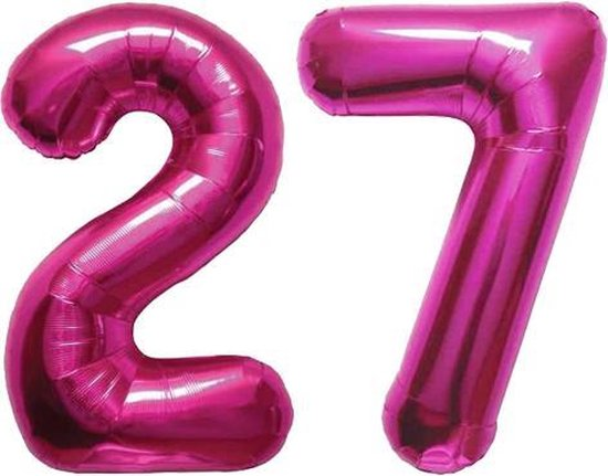 Cijfer 27 Magenta Helium 86 cm Excl. helium