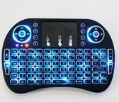 mini i8+ backlight wireless mediacenter toetsenbord met Multi-Touch muis - Zwart - QWERTY