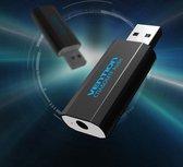 3D USB externe geluidskaart naar 3.5mm audio microfoon AUX adapter - Zwart