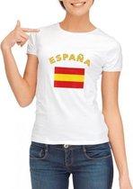 Wit dames t-shirt met vlag van Spanje M