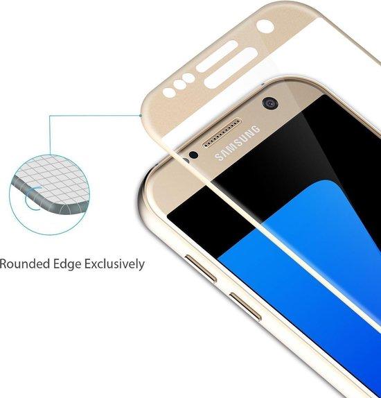 DrPhone Samsung S7 Glas 4D Volledige Glazen Dekking Curved Edge Frame Tempered glass Goud - Official