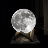 Maan Lamp – 17 cm extra groot – Incl. Adapter -Lamp Kinderkamer - Moon Light - Milieuzuining +AA - 6 uur powerbatterij - 3 kleuren incl. dimfunctie – Nachtlampje kind - LED Nachtlamp