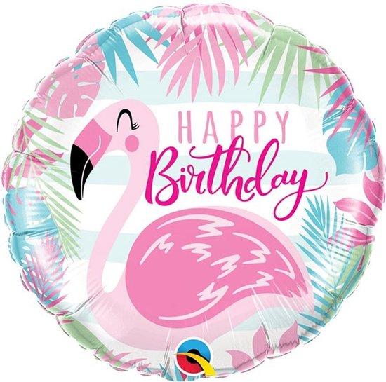 Folie ballon Happy Birthday Flamingo - 46 cm