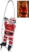 Kerstman op Ladder met Verlichting (hoogte 90 cm)