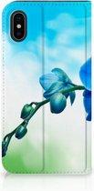iPhone X/10 Hoesje Design Orchidee Blauw