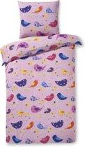 Zzzacht Vogeltjes dekbedovertrek - eenpersoons - 140 x 200 - Roze
