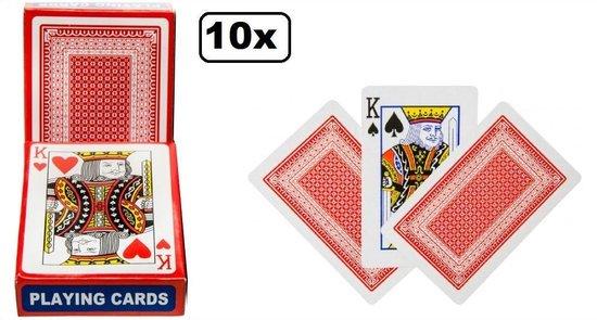 Afbeelding van het spel 10x Speelkaarten set rood/blauw - klaverjassen bridge hartenjagen spel kaarten