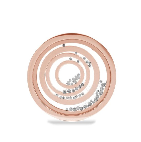 Lockits Gift Set 989900067 Stalen Collier set 25 mm - Circles - Zilverkleurig / Roségoudkleurig